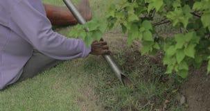 Gärtner sitzen Grabung der Boden und das Schaufeln stock footage