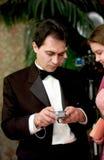 Gäste an einer Hochzeit Stockbild