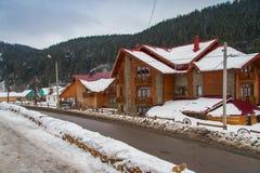 Gästehaus im Skiort von Bukovel lizenzfreie stockfotos