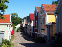 Gävle old town. The old town of Gävle, Gamla Gefle, consists of small wooden buildings and is preserved to this day as a historic reserve Stock Image