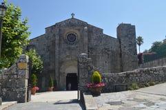 Główna fasada kościół Santa Maria W Bayonne Natura, architektura, historia, podróż Sierpień 16, 2014 Bayona, Pontevedra, obraz royalty free