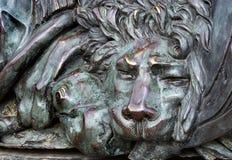 Głowa brązowy lew brązowa rzeźba sypialny lew na zabytku chwała w Poltava, Ukraina obrazy stock