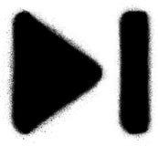 Gå att avsluta symbolen för massmediagrafittisprej i svart över vit stock illustrationer