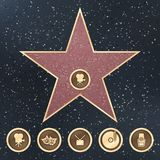 Gå av tecken för berömmelsestjärnagranit på trottoaren med symboler för vektorn för kategorier för den Hollywood filmakademin stock illustrationer