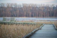 Gå bana för krökt strandpromenad till ett observationsdäck - i nedgången på den Minnesota floden i den Minnesota dalmedborgaren W arkivbilder
