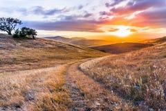 Gå bana på de gräs- kullarna av södra San Francisco Bay område på solnedgången, San Jose, Kalifornien royaltyfri fotografi