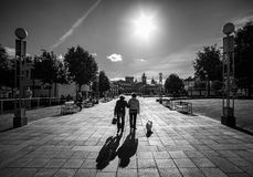 Gå Braga portugal svart white arkivfoto