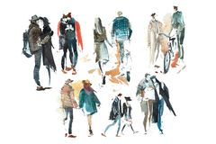 Gå den folkOuterwearAutumn Watercolor illustrationen skissa teckningen arkivbilder