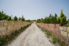 Gå den unpaved grova sandvägen till och med den låga väggen för stentegelsten bland landskap av den torkade och gröna forntida rö arkivbild