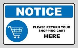Gå din shoppingvagn tillbaka här, meddelandebanret Tecken för shoppingvagn, vektorillustration Obligatoriskt symbol i blåttcirkel Royaltyfri Bild