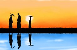Gå för buddistiska munkar Arkivfoton