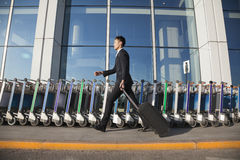 Gå för handelsresande som är snabbt bredvid rad av bagagevagnar på flygplatsen Royaltyfri Foto