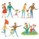 gå för park för familj lyckligt Rolig teckenuppsättning i tecknad filmstil royaltyfri illustrationer
