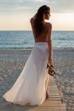 gå för strandflicka Royaltyfria Foton