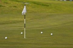 Gå i flisor green med flaggan på golfbana royaltyfri fotografi