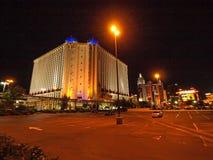 Gå i Las Vegas vägg för gator för tegelstenstadsflicka Kommersiellt och privat byggande Arkivbilder