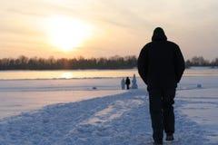 Gå i Siberia Arkivfoto