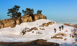 Gå i snön 7 arkivfoto