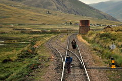Gå järnvägen Fotografering för Bildbyråer