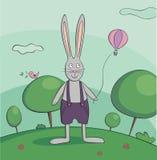 Gå kaninvektorillustration stock illustrationer