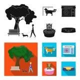 Gå med en hund i parkera som kammar en hund, ett veterinär- kontor som badar ett husdjur Veterinärklinik och uppsättning för älsk Arkivfoton
