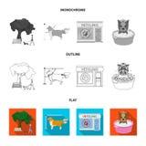 Gå med en hund i parkera som kammar en hund, ett veterinär- kontor som badar ett husdjur Veterinärklinik och uppsättning för älsk stock illustrationer