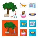 Gå med en hund i parkera som kammar en hund, ett veterinär- kontor som badar ett husdjur Veterinärklinik och uppsättning för älsk vektor illustrationer