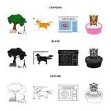 Gå med en hund i parkera som kammar en hund, ett veterinär- kontor som badar ett husdjur Veterinärklinik och uppsättning för älsk royaltyfri illustrationer