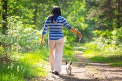 Gå med hunden Fotografering för Bildbyråer