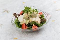 Gå mot feg sallad inklusive toppning för avokado, för tomat och för röd ek med den lösa raket och dressingen på japanskt papper f Royaltyfri Fotografi