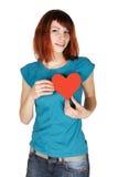 gå mot flickahjärta henne den paper röda redheaden för holdingen Arkivbilder