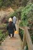 Gå ner till anmärkningsvärda grottor i tropiskt berg Royaltyfri Foto