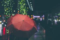 Gå på en regnig afton Fotografering för Bildbyråer