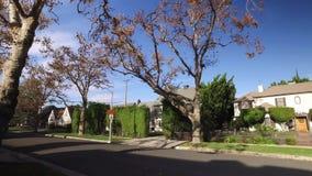 Gå perspektiv på Beverly Hills Residential Sidewalk lager videofilmer