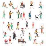Gå plant folk Tecknad film för cyklar för hundkapplöpning för barn för gata för stad för flicka för man för kvinna för teckenpers vektor illustrationer
