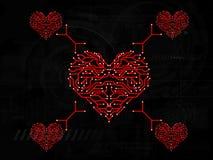 Gå runt röda förälskelsehjärtor Royaltyfri Illustrationer