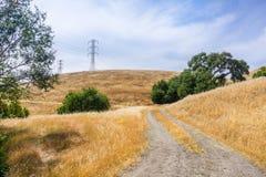 Gå slingan bland kullar och dalar som täckas i torrt gräs, södra San Francisco Bay område, San Jose, Kalifornien arkivfoto