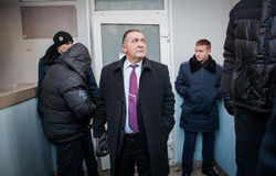 Gå strejkvakt det pro-ryska politiska partiet Arkivfoto