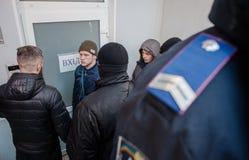 Gå strejkvakt det pro-ryska politiska partiet Royaltyfria Foton