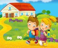 Gå till skolutbildningen - illustration för barnen Royaltyfri Fotografi