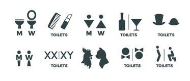 Gå till toaletten hitåt Roliga symboler för WC-man- och kvinnariktning, tecken för dörr för toalett för restaurangkafébio Vektort stock illustrationer