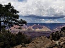 Gå tillbaka stormmoln över Grand Canyon arkivbilder