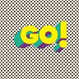 GÅ! - Typografikort med bokstäver Minimalistic affisch vektor illustrationer
