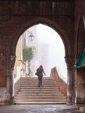 Gå uppför trappan på en Rialto båge Arkivbilder