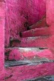 Gå uppför trappan på rosa trappa Arkivbild