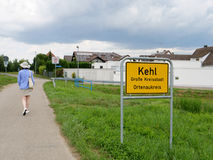 Gå ut slutet av staden av Kehl, Tyskland Arkivfoto
