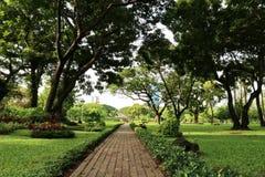 Gå vägen i ett offentligt parkerar i Bangkok, Thailand Royaltyfri Bild