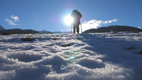 Gående nordiskt gå för oigenkännlig grabb med pinnar på snöig äng på den soliga dagen Ung fotvandrare som trekking på snöfält och stock video