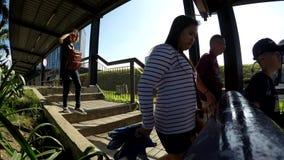 Gångare går ner på den taklade gångbanan stock video