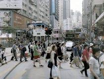 Gångare i centrala Hong Kong Royaltyfria Foton